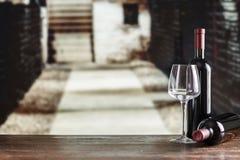 Wine tasting in the cellar. Red wine in glasses in the cellar, wine tasting, French winery stock photos