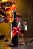 Wine tasting with christmas tree Stock Images