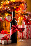 Wine tasting with christmas tree Stock Photos