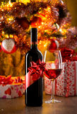 Wine tasting with christmas tree Royalty Free Stock Image