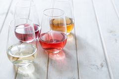 Free WIne Tasting Concept - Red, Rose And White Wine In Glasses Stock Images - 148118424