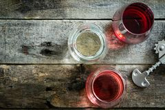 WIne tasting concept - red, rose and white wine in glasses stock photo