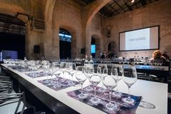 Wine tasting desk during a masterclass stock image