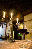 Wine Tasting. Dinner in the candle light Stock Images