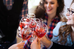 Wine tasting event by happy people concept stock photos