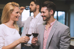 Wine tasting event at winery. People tasting wine  at winery Royalty Free Stock Photo