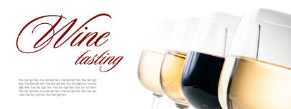 Wine-tasting, a few glasses of red and white wine. Close-up on a white background, isolated, ready template Stock Photos