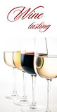 Wine-tasting, a few glasses of red and white wine stock photos