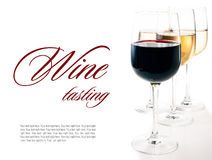 Wine-tasting, a few glasses of red and white wine Stock Image