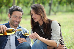 Wine tasting in the field Royalty Free Stock Photo