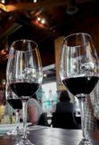 Trio of red wines in crystal royalty free stock photography