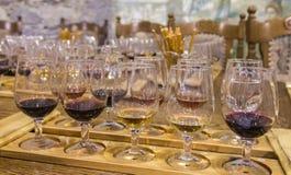 Wine tasting. Glasses of wine at the tasting Stock Image