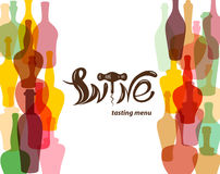 Wine tasting menu.Colored silhouettes of wine bottles. Lettering in the form of wine corkscrew. Royalty Free Stock Photography