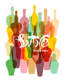 Wine tasting menu.Colored silhouettes of wine bottles. Lettering in the form of wine corkscrew. Royalty Free Stock Image