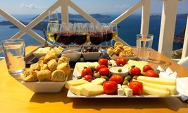 Wine Tasting. In Oia, Santorini at Santo Wines with an ocean view stock photos