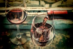Wine Tasting, Restaurant, St. Valentine`s Day, close up. Sommelier pours wine into a glass. Date, Wine Tasting, Restaurant, St. Valentine`s Day stock photos