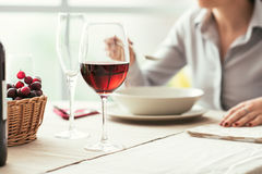 Wine tasting at the restaurant stock images