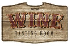 Wine Tasting Room Sign Logo Art Wooden Western Style. Rustic Saloon weathered Oak Barrel royalty free stock image