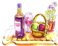 Wine tasting sketch - pen and watercolor drawings Stock Image