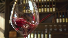 Wine tasting. Slow motion. Wine tasting. Winemaking. Wine production. Red wine is beautifully poured into a glass. Slow motion stock footage