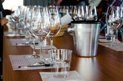 Wine tasting table. Table with glasses ready for wine tasting in a winery of Langhe Italy stock photo