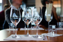 Wine tasting table. Table with glasses ready for wine tasting in a winery of Langhe Italy stock photos