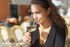 Wine tasting tourist woman. Stock Photo