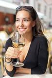 Wine tasting tourist woman. Royalty Free Stock Photos