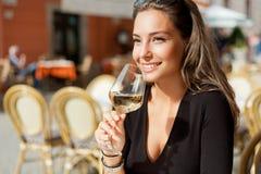 Wine tasting tourist woman. Royalty Free Stock Image