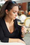 Wine tasting tourist woman. Royalty Free Stock Images