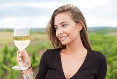 Wine tasting tourist woman. Stock Photography