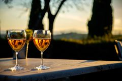 Wine tasting in Tuscany, Italy. Sunset light creates beatiful reflection in the glasses Stock Images