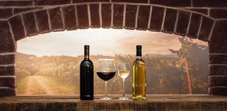 Wine tasting in the cellar. Wine tasting in the wine cellar: red and white wine bottles, wine glasses and panoramic view of the countrye vineyards at sunset stock image