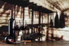 Wine tasting. Wine cellar with wine bottle and glasses.with spac. Wine cellar with wine bottle and glasses.with space for text Stock Photography
