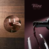 Excellent wine tasting. Wine tasting and winemaking poster set: hand holding a glass of wine and wine pouring into a glass stock photos