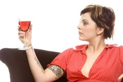 Wine and tattoos Royalty Free Stock Photography