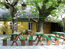 Wine tavern in Austria. Heuriger (young wine) tavern in Grinzing near Vienna, Austria Royalty Free Stock Images