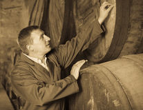 Wine technician expert working with wooden barrels Stock Photos