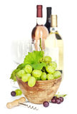 Wine testing. Fresh grape in bowl and wine  on white Royalty Free Stock Image