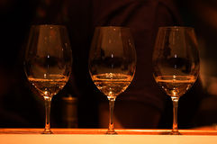 Wine testing. Three glasses with white wine Royalty Free Stock Photos