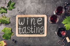 Wine testing concept on dark background Royalty Free Stock Image