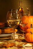 Wine at Thanksgiving. White wine on the table at Thanksgiving