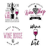 Wine themed badges, logos, labels in vintage style. Wine related retro logotype templates, insignias, signs, symbols Stock Images