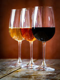 Wine. Three types of wine in the spotlight stock photography