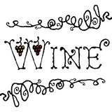 Wine title. With decorative curved line and grapes Stock Photos