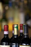 Wine Tops. The tops of wine bottles at a bar, room for text above royalty free stock images