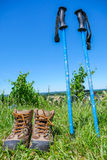 Wine Tourism-Pair of hiking shoes in the grass surrounded vineya Stock Photography