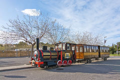 Wine tourist train. MALLORCA, BALEARIC ISLANDS, SPAIN - MARCH 7, 2017: Tourist train Wine Express offering tours in wine country on March 7, 2017 in Mallorca Royalty Free Stock Photos