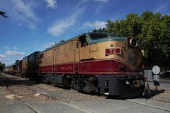 Wine train in Napa, California. NAPA VALLEY, CALIFORNIA - SEPTEMBER 21, 2017: Wine train in Napa, CA. It is an excursion train that runs between Napa and St royalty free stock photography