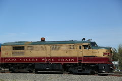 Wine train in Napa. It is an excursion train that runs between Napa and St. Helena, California. NAPA VALLEY, CA - MARCH 24:Wine train on March 24, 2013 in Napa royalty free stock images